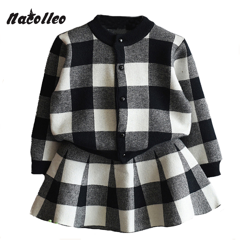 New Girls Clothing Sets 2017 Long Sleeved Kids Casual Suits Fashion Warm Plaid Jackets+Knitted Skirts 2Pcs Outwear Sets for 2-7 цены онлайн