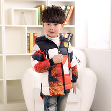 New Fashion Winter Jacket for Boy Down Jacket Kid Boys Camouflage Patchwork Winter Outwear Hooded Children's Jacket Winter Coat