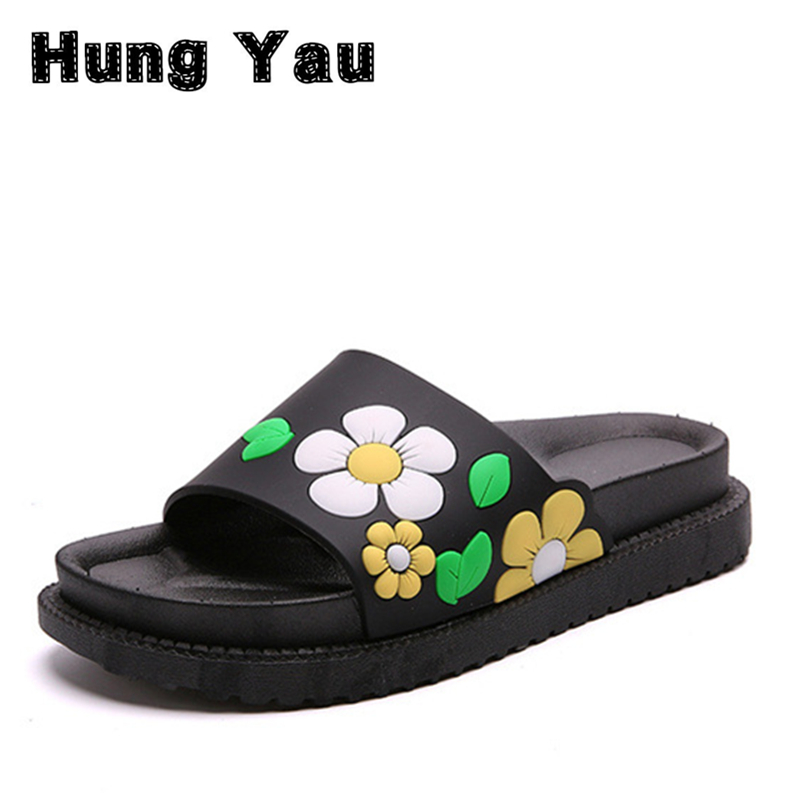 Women Sandals Slides 2017 Summer Style Shoes Woman Fashion Flower Comfortable Female Slides Ladies Shoes Woman Flats Size 8 women sandals 2017 summer shoes woman wedges fashion gladiator platform female slides ladies casual shoes flat comfortable