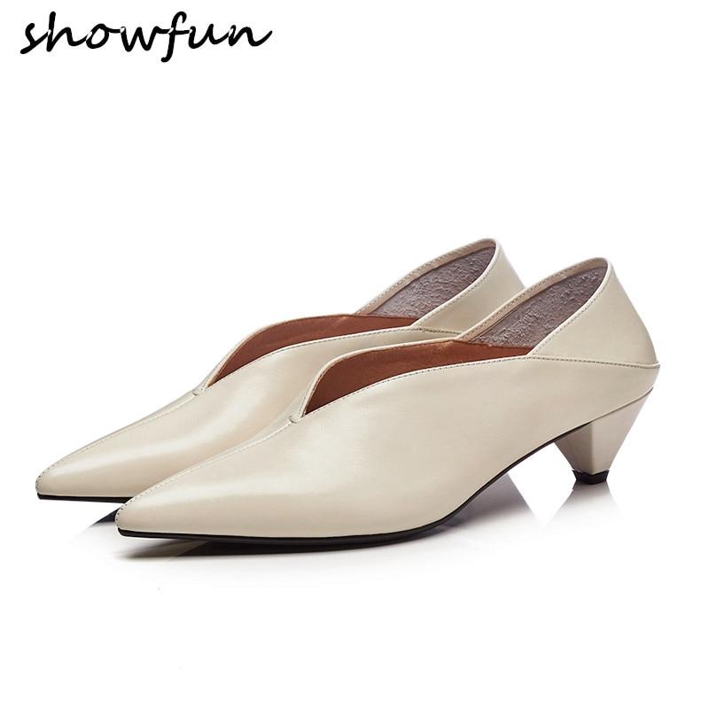 Slip Alto Cuero brown Mujer beige Mulas Talón Black De Cómodo Retro Zapatos Tacón Med Marca Genuino Primavera V Diseñador Bombas on 6q5t5