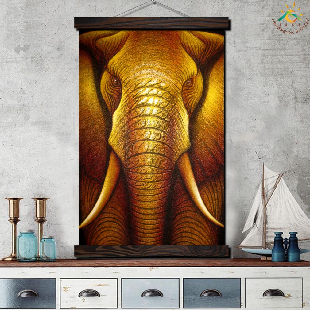 Balinese Gold Elephant Modern Wall Art Print Pop Art Picture And Poster Frame Hanging Scroll Canvas Painting Canvas Poster Rich in Painting Calligraphy from Home Garden