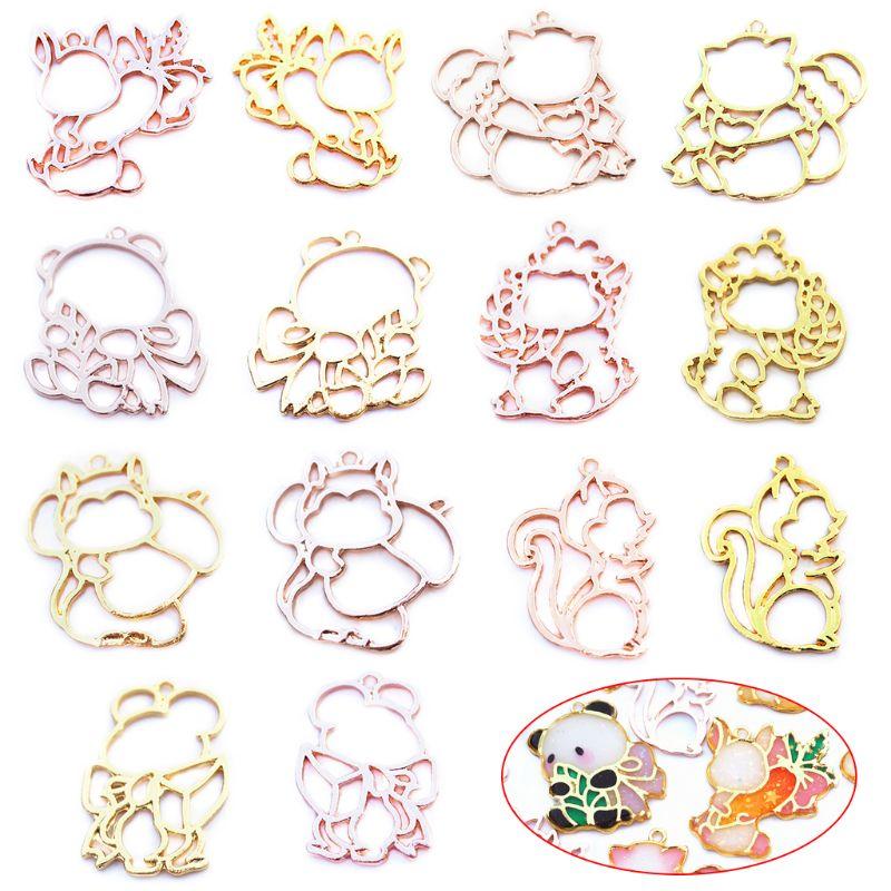 14 Pcs/Set DIY Jewelry Accessories Animal Model Epoxy Mold Metal Frame Pendant Border