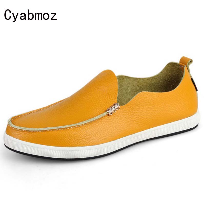 Cyabmoz Brand 2017 New Men Loafers Genuine Leather Flats Slip On Fashion Driving Shoes Soft Moccasin Zapatos Hombre Casual Shoes fashion nature leather men casual shoes light breathable flats shoes slip on walking driving loafers zapatos hombre