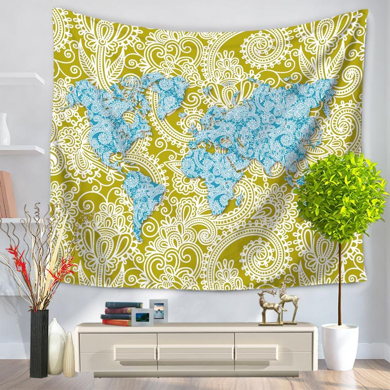 Abstract world map tapestry wall hanging sandy beach picnic throw abstract world map tapestry wall hanging sandy beach picnic throw rug blanket camping tent travel sleeping pad free delivery in tapestry from home garden gumiabroncs Gallery
