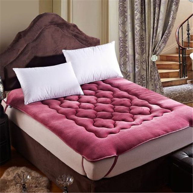 100% Flannel Coral Fleece Thick Bed Mattress Protector Cover Sheets Thick  Warm Winter Bed Matress