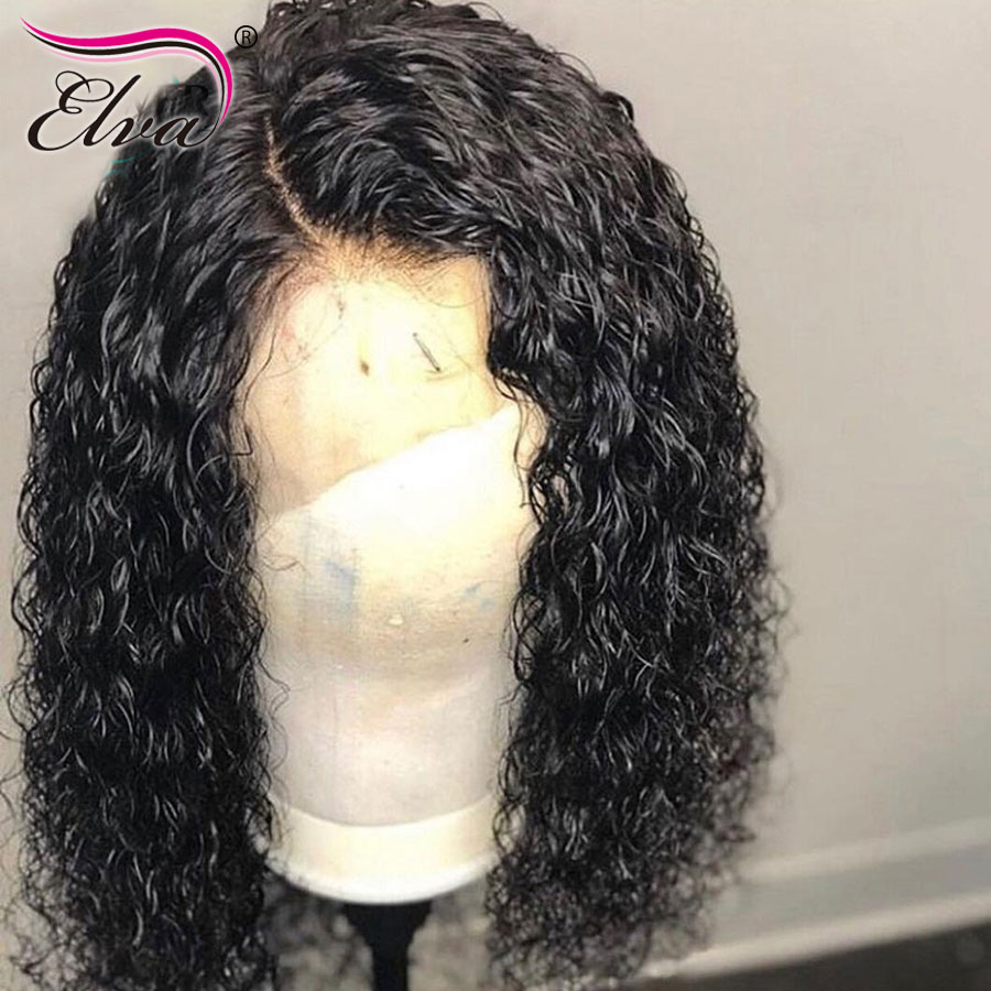 Curly Lace Front Human Hair Wigs Brazilian Lace Front Wig Baby Hair Pre Plucked Natural Hairline Bleached Knots Elva Remy Hair