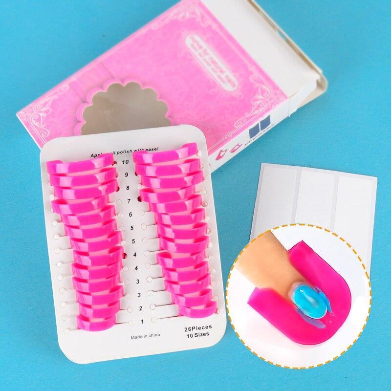 Pro 26 st 10 storlekar kurvform spilltät fingeravtryck klistermärke nagellack lakan återanvändningsbar hållare + gratis 1 st fransk klistermärke