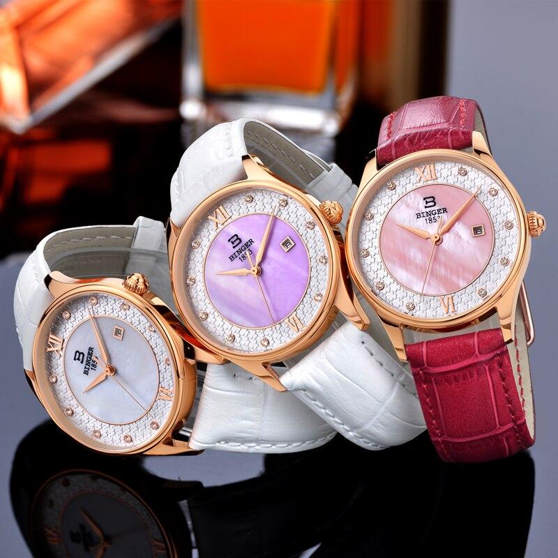 Fleurissement fleurs montre pour femmes élégant bracelet en cuir blanc montre-bracelet Quartz cristaux robe montre coque naturelle analogique Reloj - 6