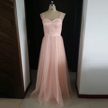 Real Photo Blush Soft Tulle Long Bridesmaid Dresses Spaghetti Straps NO PS Semi Formal Party Dress For Wedding Guest Dresses
