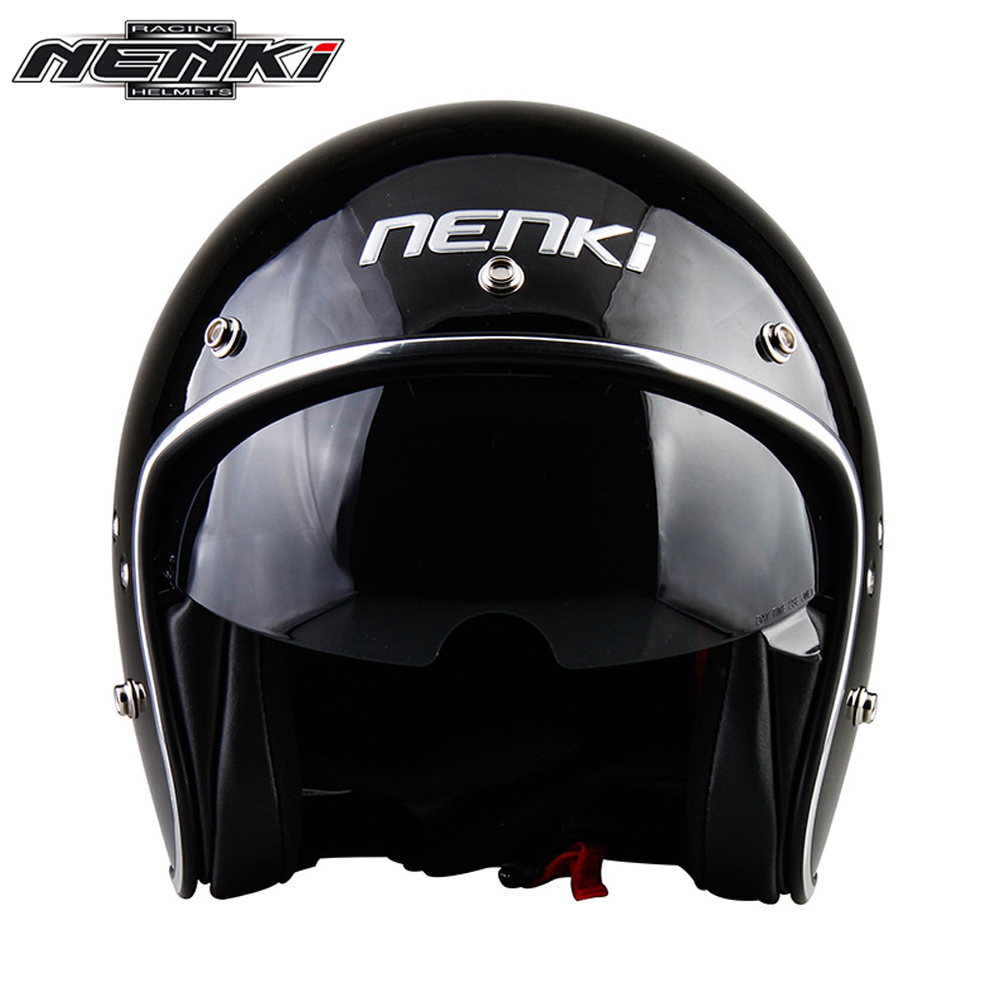 NENKI Retro Vintage Motorcycle Helmet Chopper Scooter Cruiser Cafe Racer 3/4 Open Face Casco Moto Helmet DOT Sun Shield Lens gxt dot approved harley motorcycle helmet retro casco moto cascos dirt bike open face vintage downhill helmets for women and men