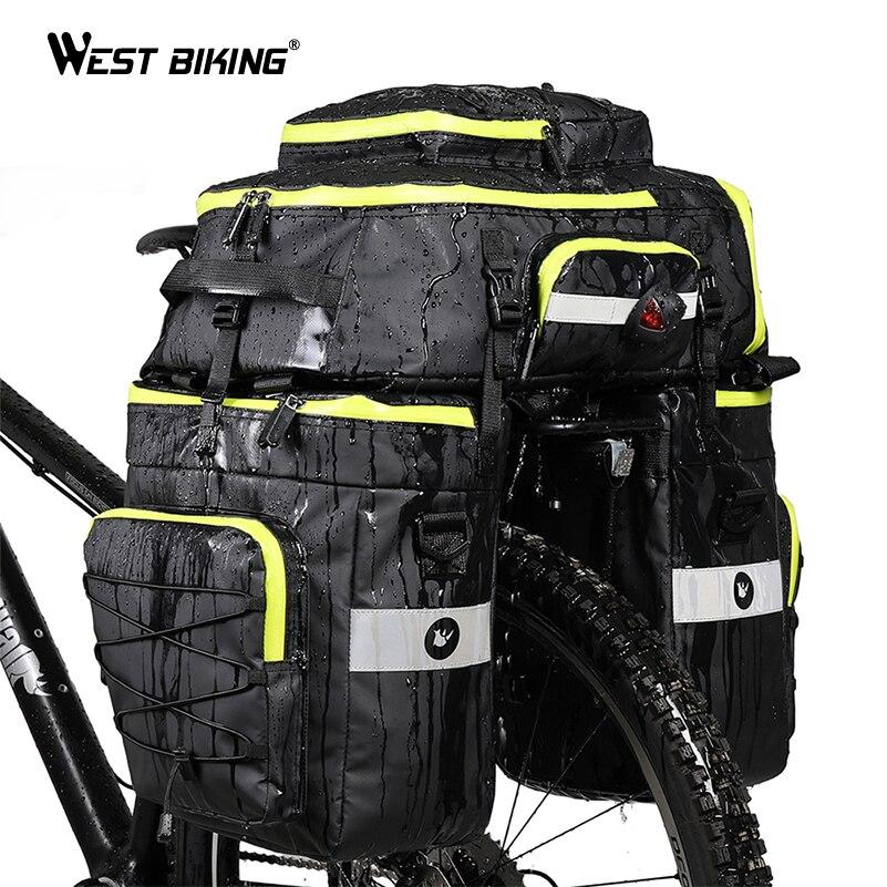 WEST BIKING 3 in 1 Bike Bags Backpack Saddle Rear Rack Trunk Bag Cycling MTB Shoulder Bags 75L Capacity Waterproof Bicycle Bag