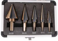 5pcs Set HSS COBALT MULTIPLE HOLE 50 Sizes STEP DRILL BIT SET W Aluminum Case Core