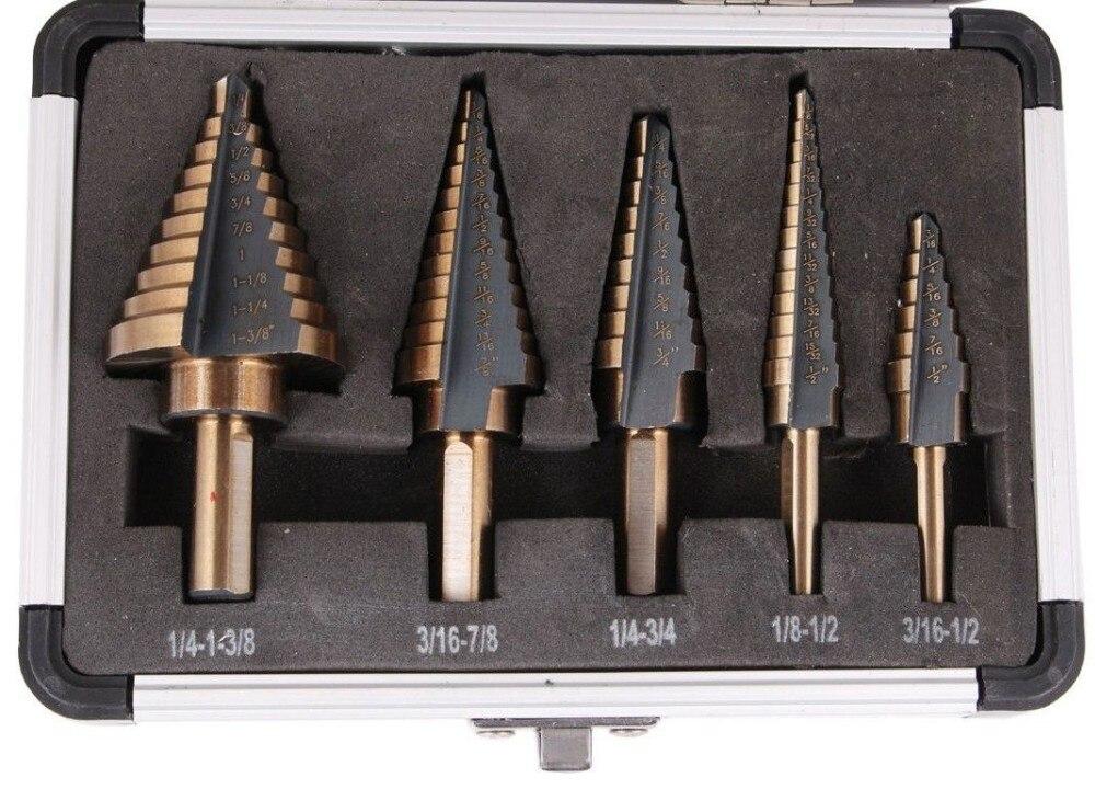 5pcs/Set HSS COBALT MULTIPLE HOLE 50 Sizes STEP DRILL BIT SET w/ Aluminum Case core drill bit metal drilling set