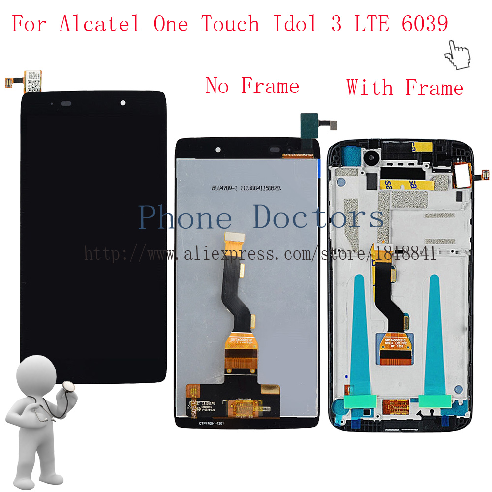 4.7LCD display + Touch screen digitizer assembly with Frame For Alcatel One Touch Idol 3 LTE 6039 6039A 6039K 6039Y 6039J 6039S