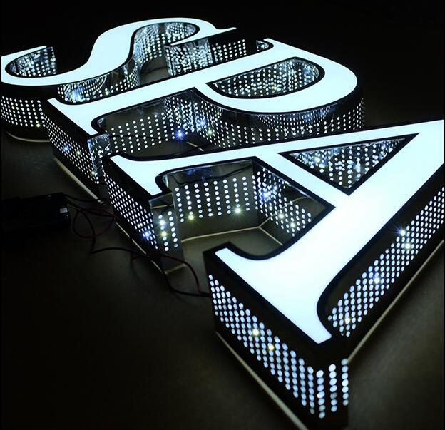 stainless steel led luminous characters back side beat