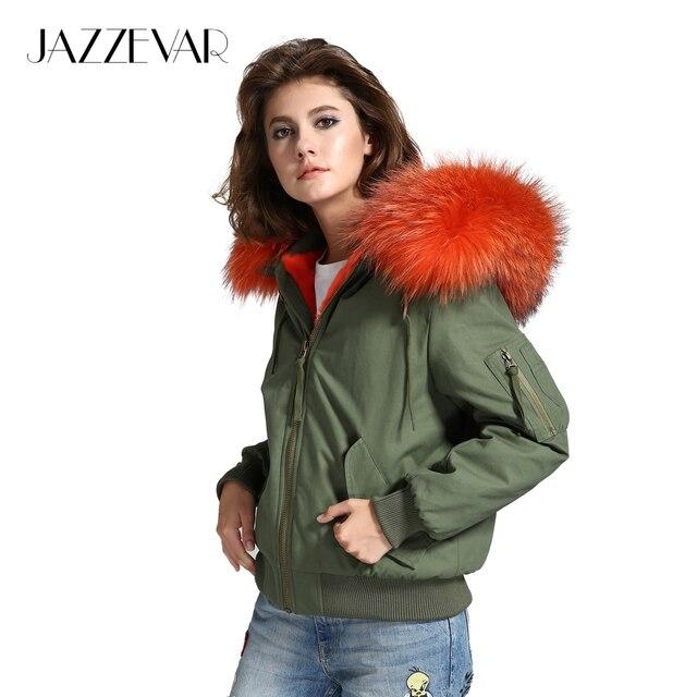 Jazzevar высокой уличной моды Женская армия зеленый зимняя куртка женские теплые куртка-бомбер пальто с капюшоном из меха енота верхняя одежда