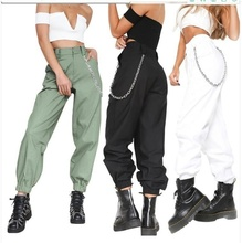 ZOGAA Hot Sale High Waist Women Cargo Pants Casual Loose Cool Street Wear Fashion Straight Wide Leg Trousers Without Chain