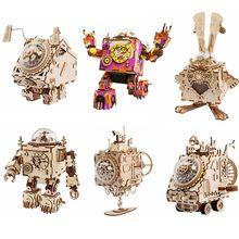 Robotime DIY Wooden Clockwork Movable Steampunk Music Box Home Decoration Gifts For Kids Husband Boyfriend AM