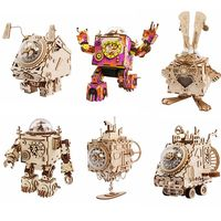 Robotime DIY Wooden Clockwork Movable Steampunk Music Box Home Decoration Gifts For Kids Husband Boyfriend AM