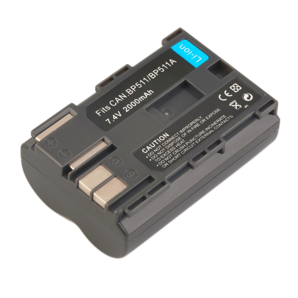 2pcs/lot BP-511A BP-511 BP 511 511A 7.4V 2000MAH Li-Ion Rechargeable Battery for Canon EOS 40D 300D 5D 20D 30D 50D Camera bp 208 compatible 850mah battery pack for canon mvx1sidc10 dc20 more