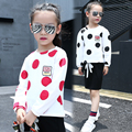 2017 spring and autumn hot fashion children's cotton T-shirt girls 4-11 years old round neck big polka T-shirt