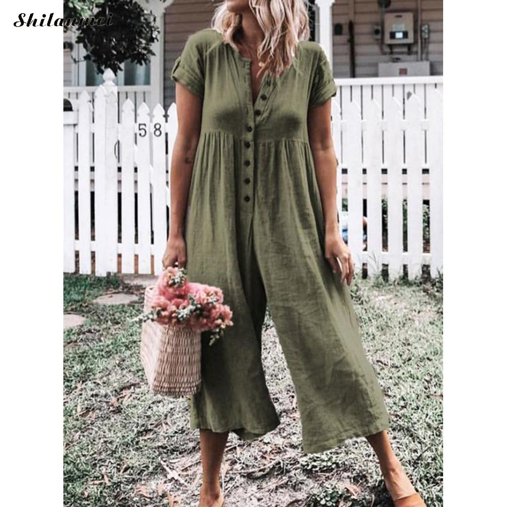 2019 Casual Loose Women Summer Short Sleeve Linen   Jumpsuit   Wide Leg Long Trousers Boho Bodysuit Plus Size 3xl Overalls Romper