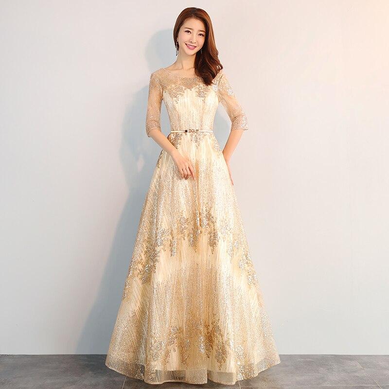 Dames robes de soirée beauté Emily nouvelles robes de retour à la mode doux champagne robe de soirée élégante ceinture robes de soirée