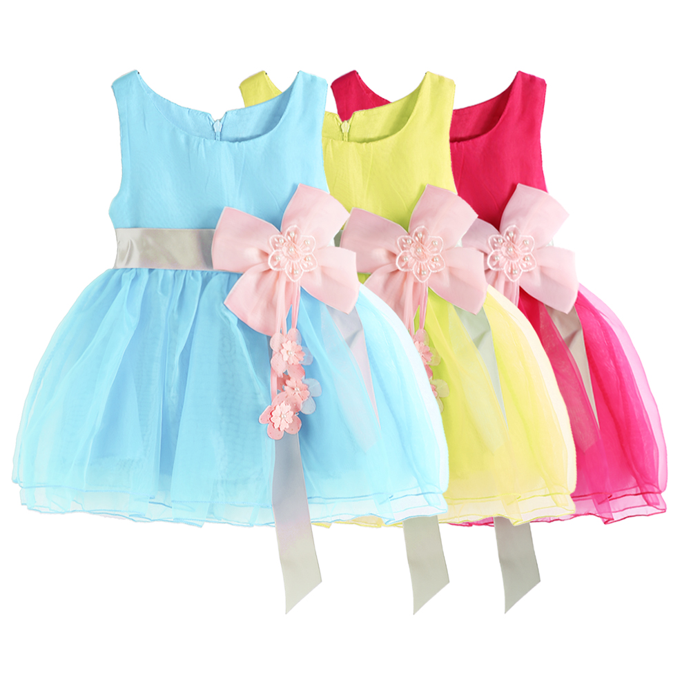 0-3 Years Baby Girls Summer Mesh Dress Fashion Toddler Kids Sleeveless Flower Decoration Dress New Formal Party Dresses 3 Colors