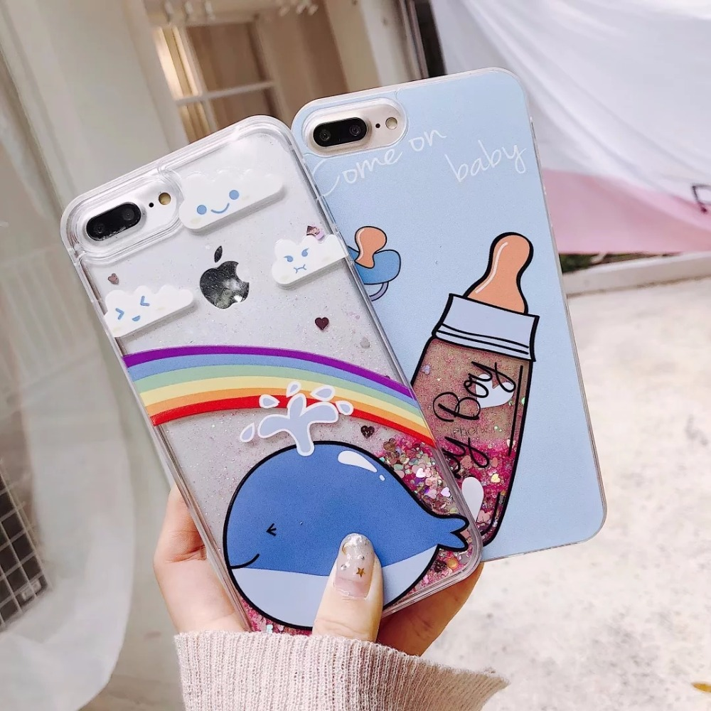 on sale 1d148 fb975 US $3.99 |Quicksand case For iPhone 8 7 6 6s Plus Cases Dolphin and baby  bottle Dynamic Quicksand Sequin For iPhone X 8 6 s cover capa-in Fitted  Cases ...