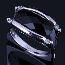 Perfect Oval Black Cubic Zirconia White CZ 925 Sterling Silver Ring For Women V0660