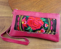 Vintage Hmong Thai Ethnic Genuine Leather Wallet Purse Hobo Hippie Ethnic Handbag With Embroidery SYS 244