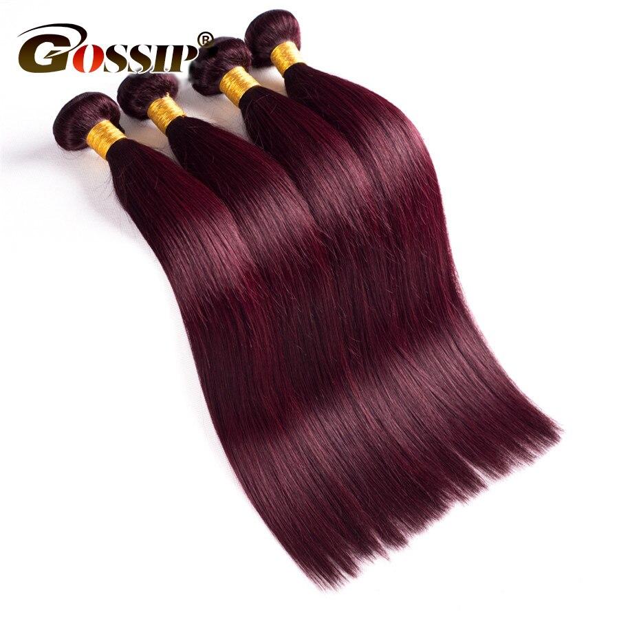 Gossip Peruanca e Flokëve të Drejta 3 Pako Marrëveshje Burgundy - Flokët e njeriut (të zeza) - Foto 4
