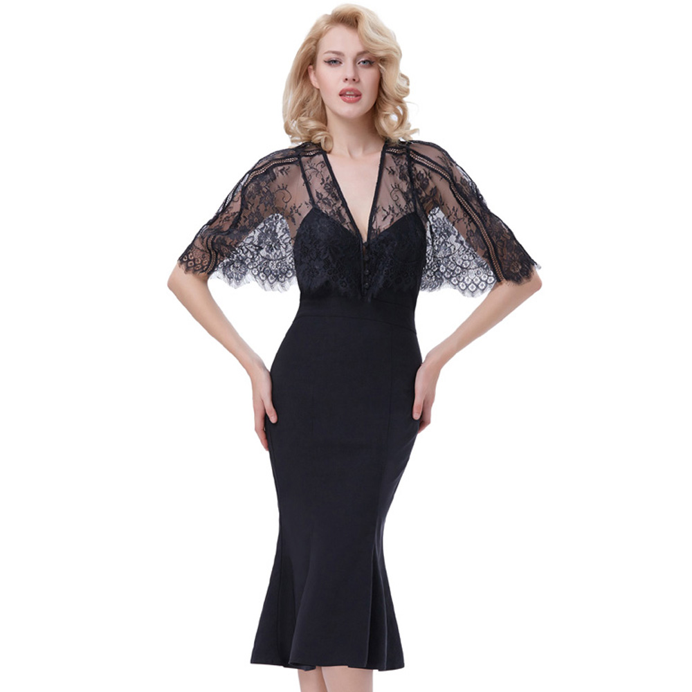 02ff8666e4f001 Belle Poque Embroidery Lace Dress Overlay Twinset Vestido 1950s Vintage  Half Sleevel Straps Deep Sexy V Neck Black Mermaid Dress-in Dresses from  Women's ...