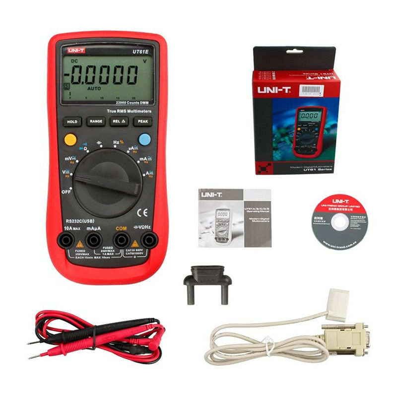 UNI-T UT61E Digital Multimeter auto range true RMS Peak value RS232 REL AC/DC amperemeter uni t UT 61E multimeter