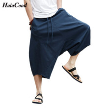 2018 New Fashion Cotton Thailand Shorts Bloomers Men Loose Linen Harem Shorts Nepal Seven Wide Leg Big Size Beach Shorts Summer