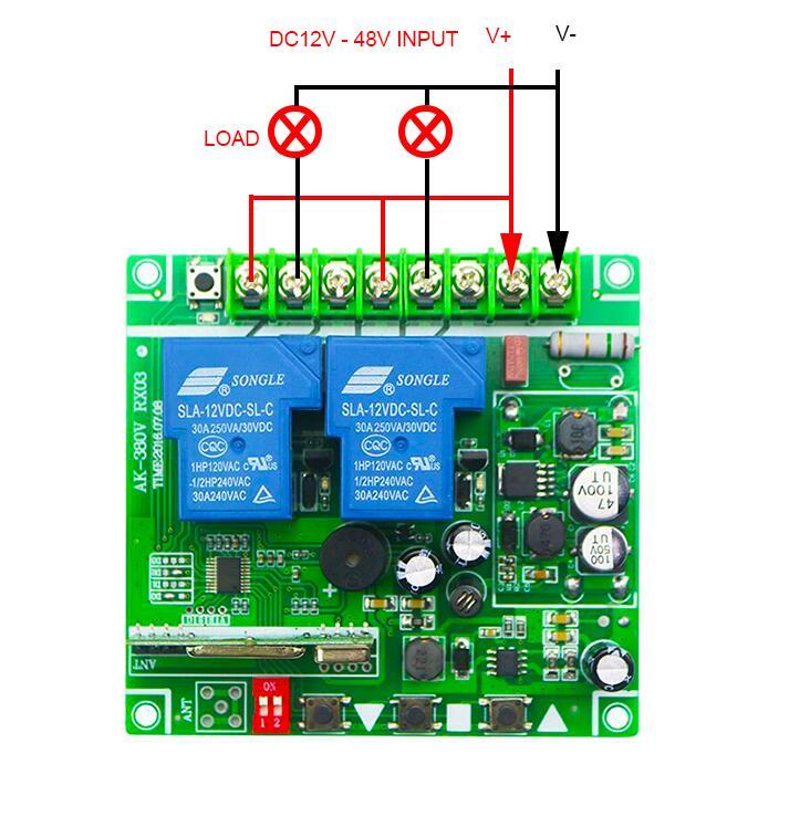 DC 12V 24V 36V 48V 30A 2CH Wireless RF Remote Control Switch relay Transmitter Receiver for Appliances Gate Garage Door