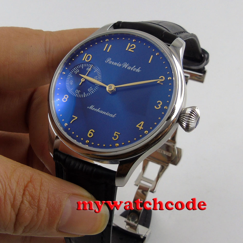 new arrive 44mm parnis blue dial 6497 movement hand winding mens watch P395new arrive 44mm parnis blue dial 6497 movement hand winding mens watch P395
