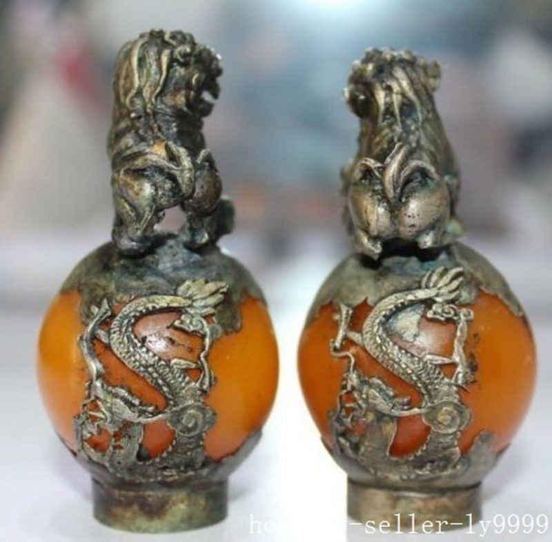 จีนฮวงจุ้ยทองแดงเงินชั่วร้ายสุนัขสิงโตคู่หยกรูปปั้นตกแต่งบ้านโลหะหัตถกรรม