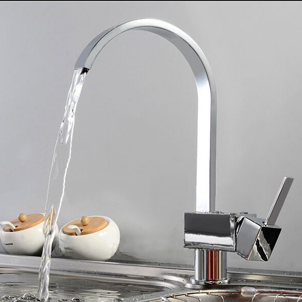 360 Degree Roating Kitchen Faucet.Deck Mounted Stainless Steel Swivel One Hole/ Handle Chrome Finished Kitchen/Basin Mixer Tap. multi functions stainless steel free standing kitchen knife dish rack chrome finished