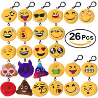 26 Pack Emoji Keychain Mini Plush Pillow Toys Keychain Decorations Party Supplies Favors For Kids 2