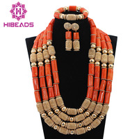 Luxury Wedding Coral African Beads Jewelry Sets Dubai Gold Layers Necklace Set for Brides Christmas Gift Free Ship CNR700