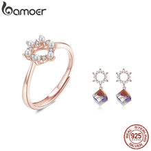 bamoer Pearl and Crystal Ring and Earrings for Women Jewelry Sets Rose Gold Color Sterling Silver 925 Fashion Jewelry ZHS125(China)
