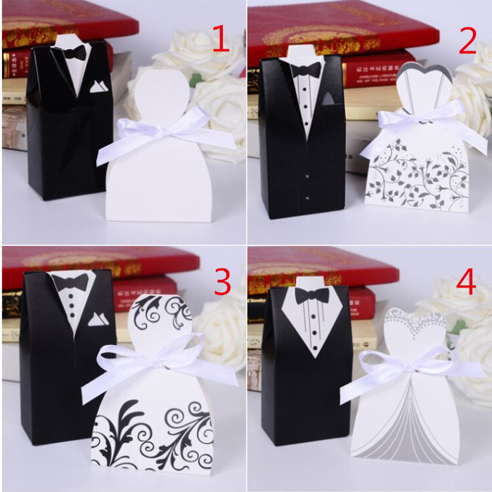 Free shipping 100pcs wedding centerpieces bride and groom for Application box decoration
