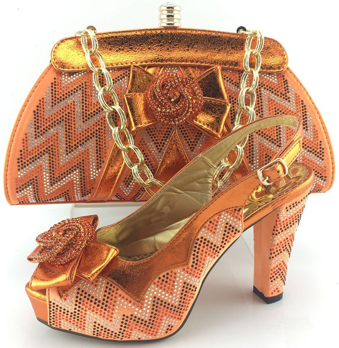 New Arrival Orange Color African Wedding Shoe and Bag Set ...