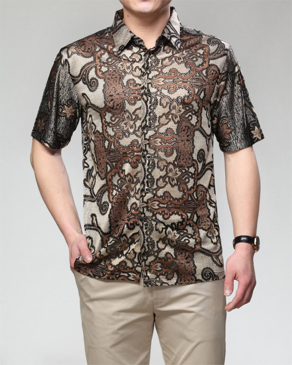 2015 New Summer Style Regular Silk Print Shirt Mens Short Sleeve