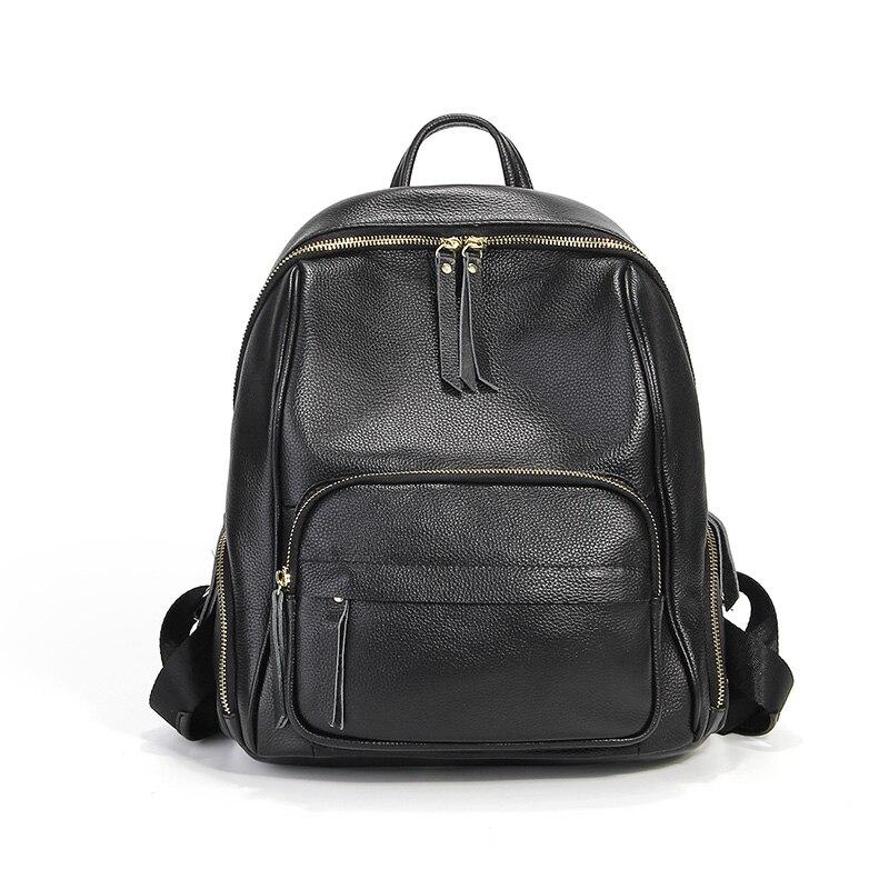 Mode femmes sac à dos en cuir véritable femmes sacs décontracté réel sac à dos en cuir pour ordinateur portable solide femme Trave sac cartable # LF1875