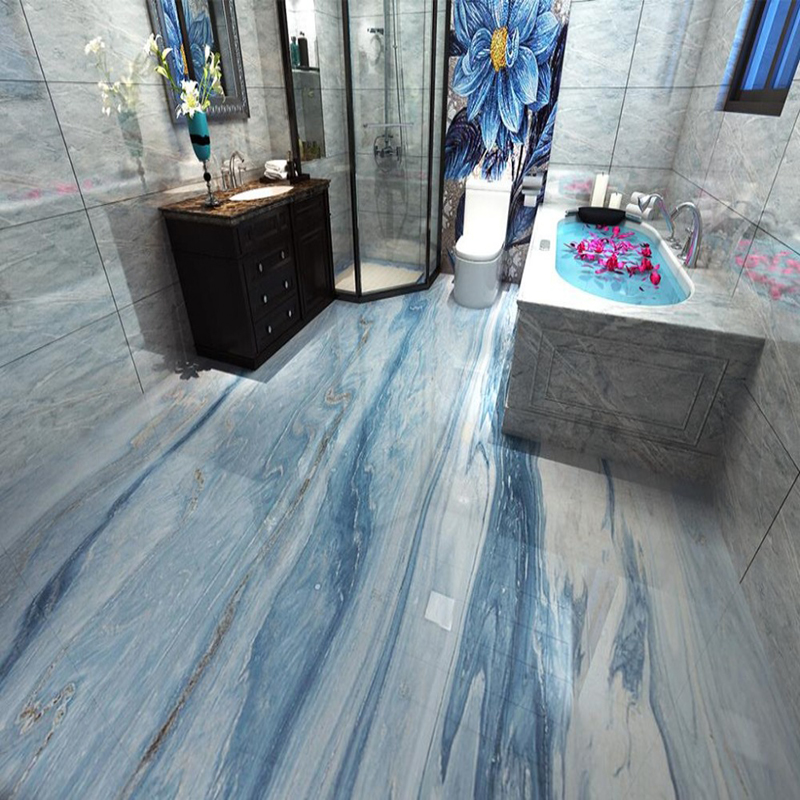 pvc self adhesive waterproof mural wallpaper modern simple blue marble 3d floor tiles wall paper bathroom kitchen 3 d home decor
