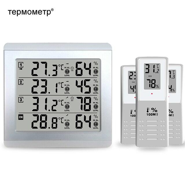 Estación Meteorológica termómetro Digital higrómetro Sensor de humedad de temperatura interior y exterior Monitor alerta + 3 Transmisor Inalámbrico