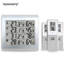 Termômetro e higrômetro digital interno e externo, estação meteorológica monitor de temperatura e umidade alerta + 3 transmissor sem fio