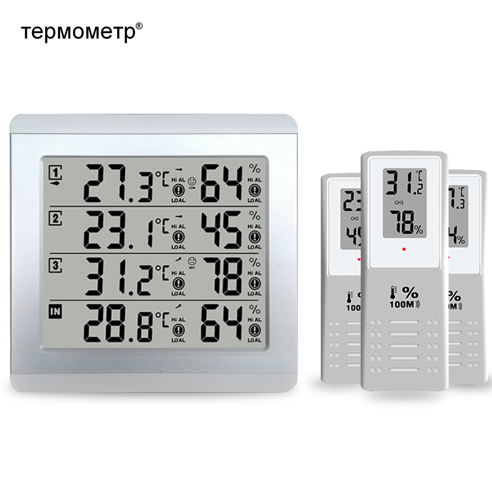 Weather Station Digital Thermometer Hygrometer Indoor Outdoor Temperature Humidity Sensor Monitor Alert+3 Wireless Transmitter